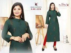 Ladies Straight Designer Handwork Kurti