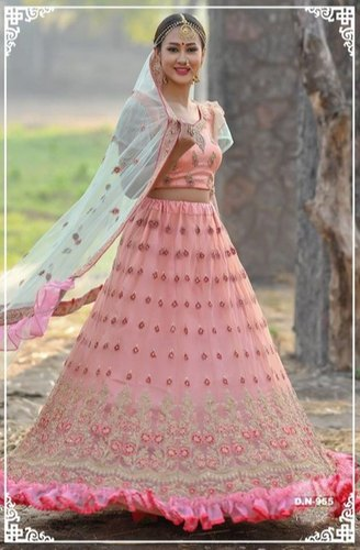 Designer Taffeta Silk Lehenga Choli With Heavy Embroidery Work And Heavy Butterfly Net Dupatta For Women