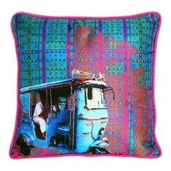 Electric Blue Poli Dupion Cushion Cover