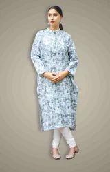 Cotton Printed White with Green Floral Print Kurta