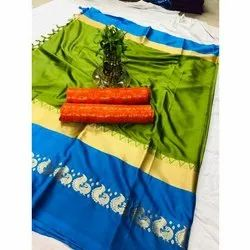 Designer Silk Saree, 6.3 M (with Blouse Piece), Packaging Type: Packet