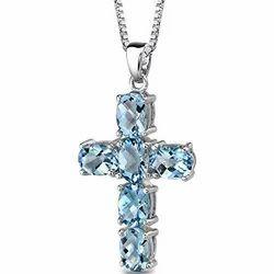 Designer Blue Topaz Silver Pendant