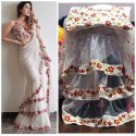 Ruffle Saree Material Net Plus Embroidery