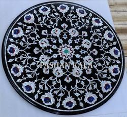 Black Marble Mother Of Pearl Inlaid Table Top