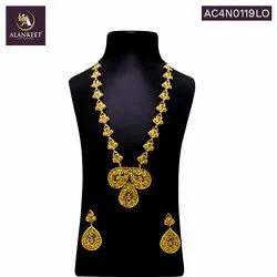 Charming Grand Bridal Designer Wedding Trending South Indian Style Long Necklace Set for Womens