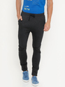 BLACK Male Mens Zipper Track Pant