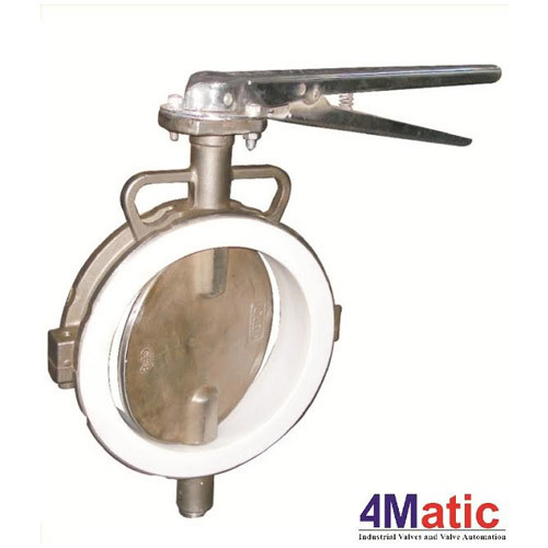 Stainless Steel Manual Lined Butterfly Valve, Model: 4Matic_PTFE