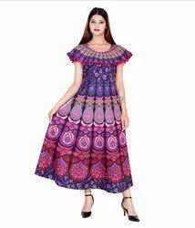 Round Neck Rajasthani Printed Cotton Long Frock