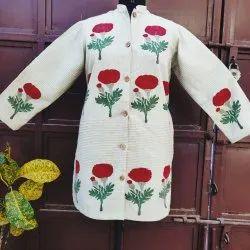 Full Sleeve Casual Jackets Beautiful Bunches Print Khadi Cotton Jacket