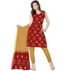 Red Bandhani Print Suit