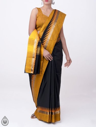 34fa0fbd25 Pure Cotton Fabric Accompanied. Pure Handloom Kanchi Cotton Saree With  Temple Border, With Blouse