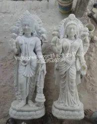 White Marble Vishnu & Laxmi Statue