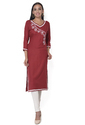 Ritzzy 3/4th Sleeve Maroon Embroidered Rayon Straight Kurti