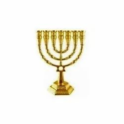 Vintage Brass Menorah Candleholder Centerpiece for Hanukkah
