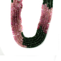 Chrome Green Pink Tourmaline Micro Roundel Faceted Beads