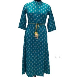 Party Wear Ladies Jaipuri Rayon Printed Kurti, Size: S-XXL