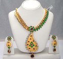 Golden Gold Plated Long Haram With Jhumka