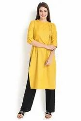 Yellow Straight Cut Cotton Kurti