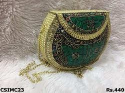 green with gold mosaic clutch