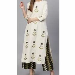 White Ladies Kurti With Palazzo