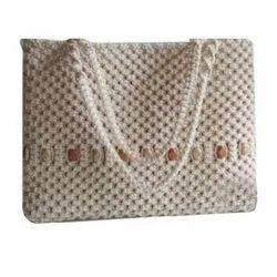 Cream Cotton fabric Ladies Fancy Purse