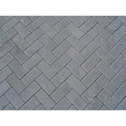 Cement Rectangular Grey Rectangle Concrete Paver Block, For Pavement, Thickness: 80mm