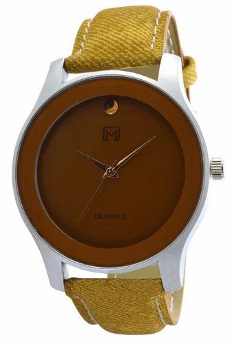 9171f20029da Om Designer Analogue Round Brown Dial Yellow Belt Watch for Mens   Boys New  Design OM161610