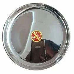Silver Round Stainless Steel Rajbhog Plate, For Hotel, Size: 12 To 14 Inch