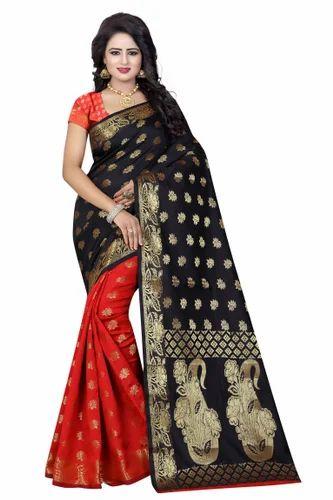 97055d3310305a Women  s Jacquard Banarasi Silk Pink and Red Saree