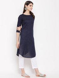 Women HC745 Navy Blue Yarn Dyed Khadi Cotton Kurti
