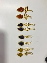 Gold Plated Agate Hanging Earrings