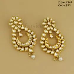Traditional Antique Kundan Hanging Earrings