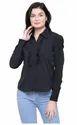 Ruffle Frill Sleeved Black Shirt