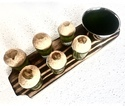 Pine Wood Rect Snack Service Dish with Shot Glasses & Bowl
