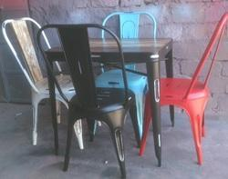 Distressed Finish Square Vintage Cafe Dining Chair and Table Dining Set, For Restaurant, Size: 36x36x30inch