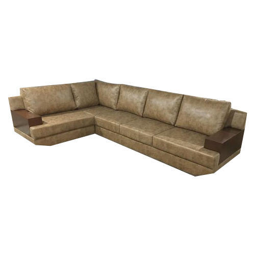 L Shape Modern Wooden and Leather Sofa