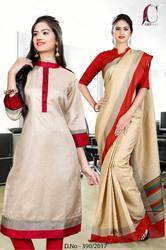 Beige with Red Border Tripura Cotton Uniform Saree Kurti Combo