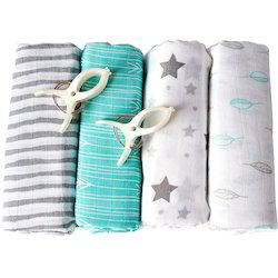 Two Color Printed Organic Muslin Baby Swaddles