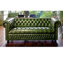 3 Seater Leather Green Chesterfield Lounge Sofa