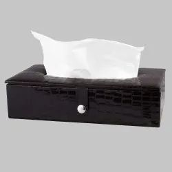 Black Croco PU Tissue Box