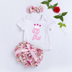 Crown Applique Pink Onesies and Shorts Sets with Headband
