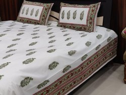 +Leaf Floral Jaipuri, Sanganeri, Bagru Hand Block Cotton Double Bed Bed sheet With Pillow