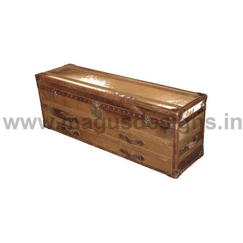 Brown Leather Bed End Ottoman