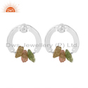Bauble Design 925 Fine Silver Bio Tourmaline Gemstone Earrings