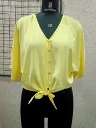 Full Sleeve Georgette Yellow Poly Front Tie Shirt, Size: S, M and L