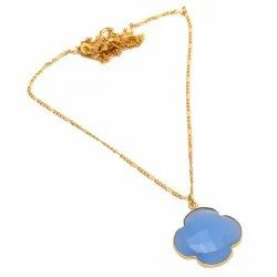 Clover Blue Chalcedony Necklace