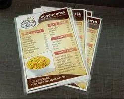 Paper Menu Card Printing, in Pan India, Size: Custom