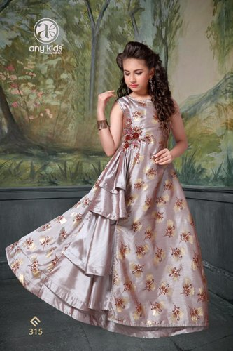 Alexa Silk With Foil Party Wear & Event Kids Fancy Designer Long Gown, 24-38