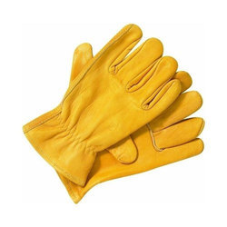 Yellow Leather Safety Glove