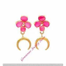 Fuchsia Chalcedony Gemstone Earring